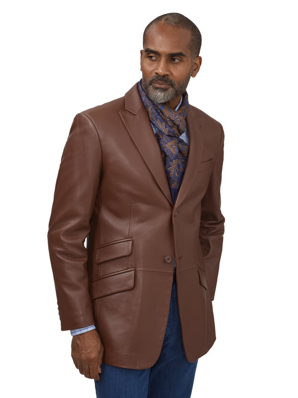 Leather Peak Lapel Jacket