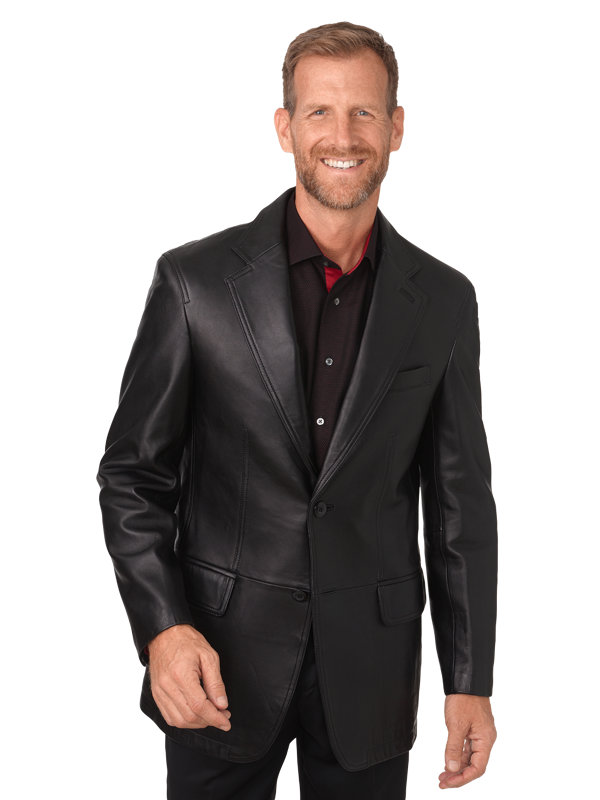 Leather Notch Lapel Jacket