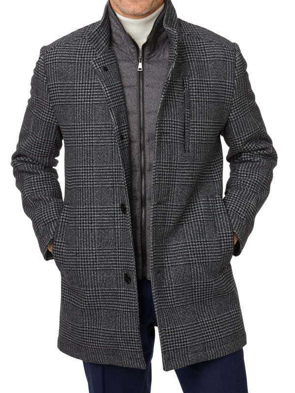 Wool Blend Glen Plaid Car Coat