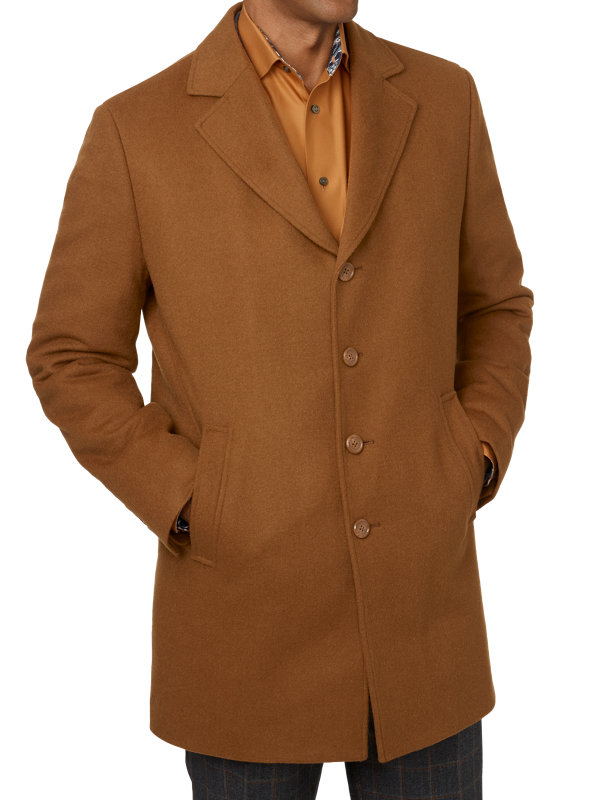 Wool Notch Lapel Top Coat