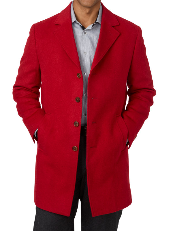 Wool Notch Lapel Top Coat
