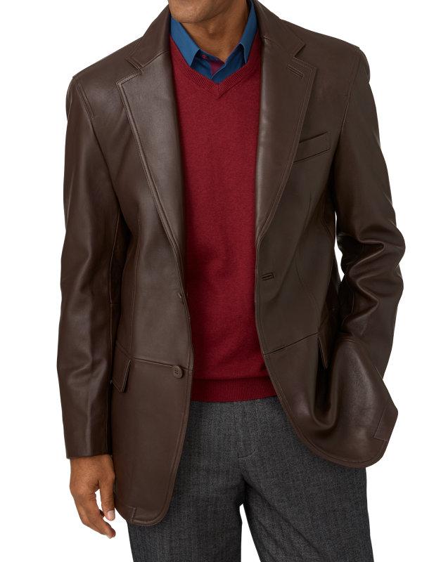 Lambskin Leather Notch Lapel Blazer