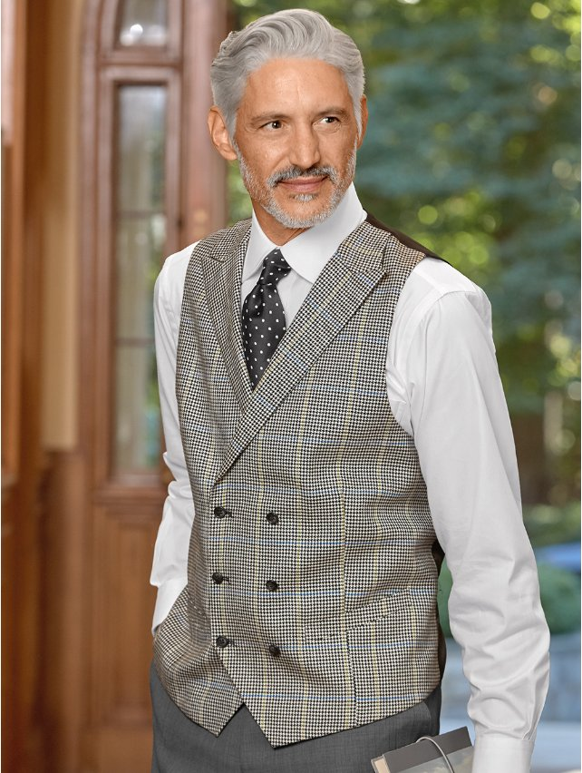 Wool & Silk Houndstooth Vest