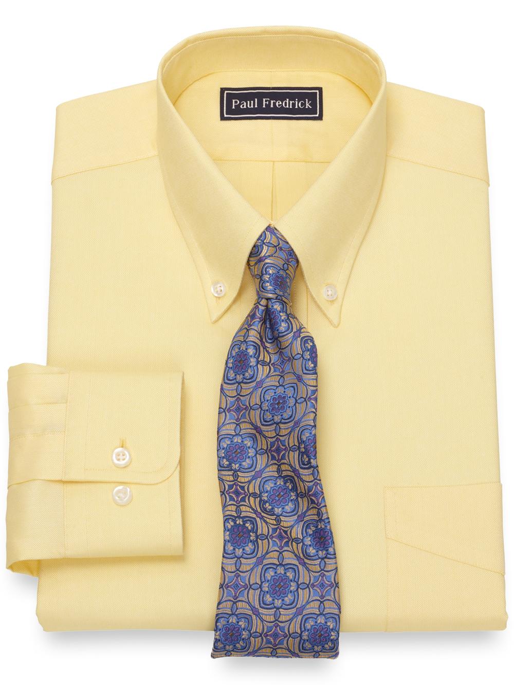 7e8efd6c9b0 Pure Cotton Pinpoint Solid Color Button Down Collar Dress Shirt ...