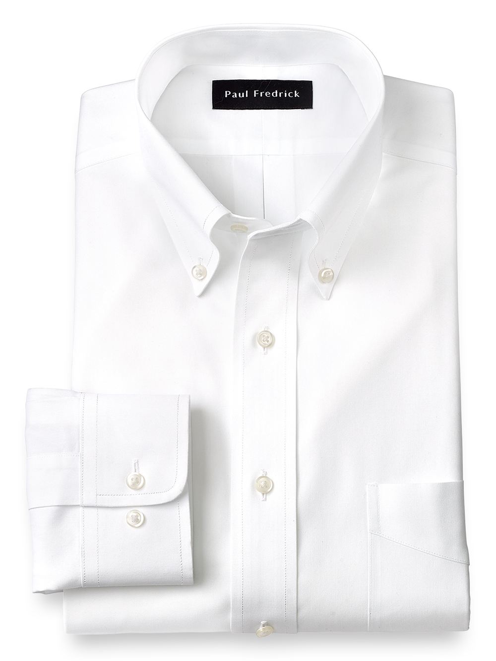 Non Iron Cotton Pinpoint Solid Color Button Down Collar Dress Shirt