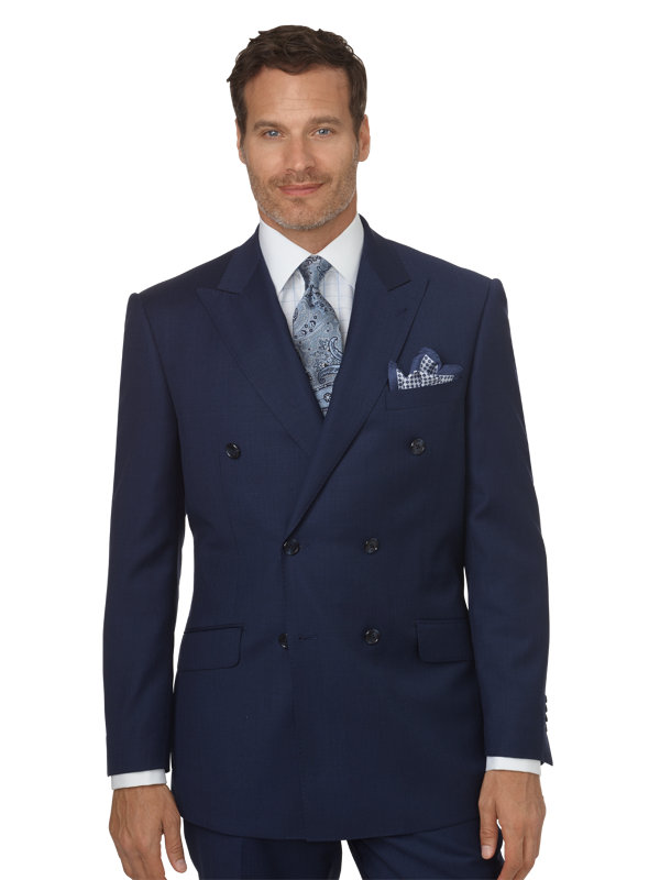 Classic Fit Sharkskin Double Breasted Peak Lapel Suit