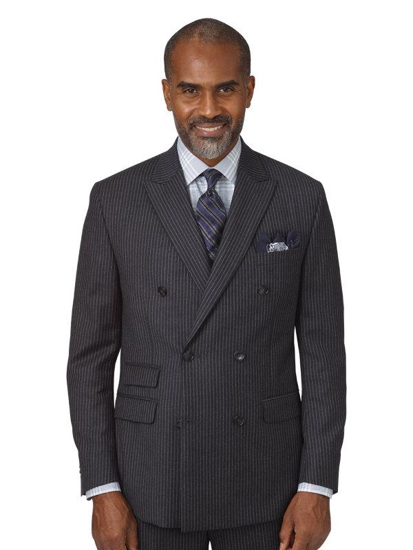 Classic Fit Wool Stripe Double Breasted Peak Lapel Suit