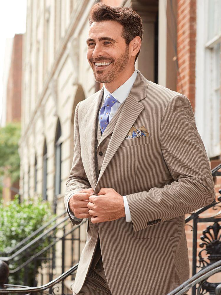 1930s Style Mens Suits  Cotton Seersucker Stripe Notch Lapel Suit $280.00 AT vintagedancer.com