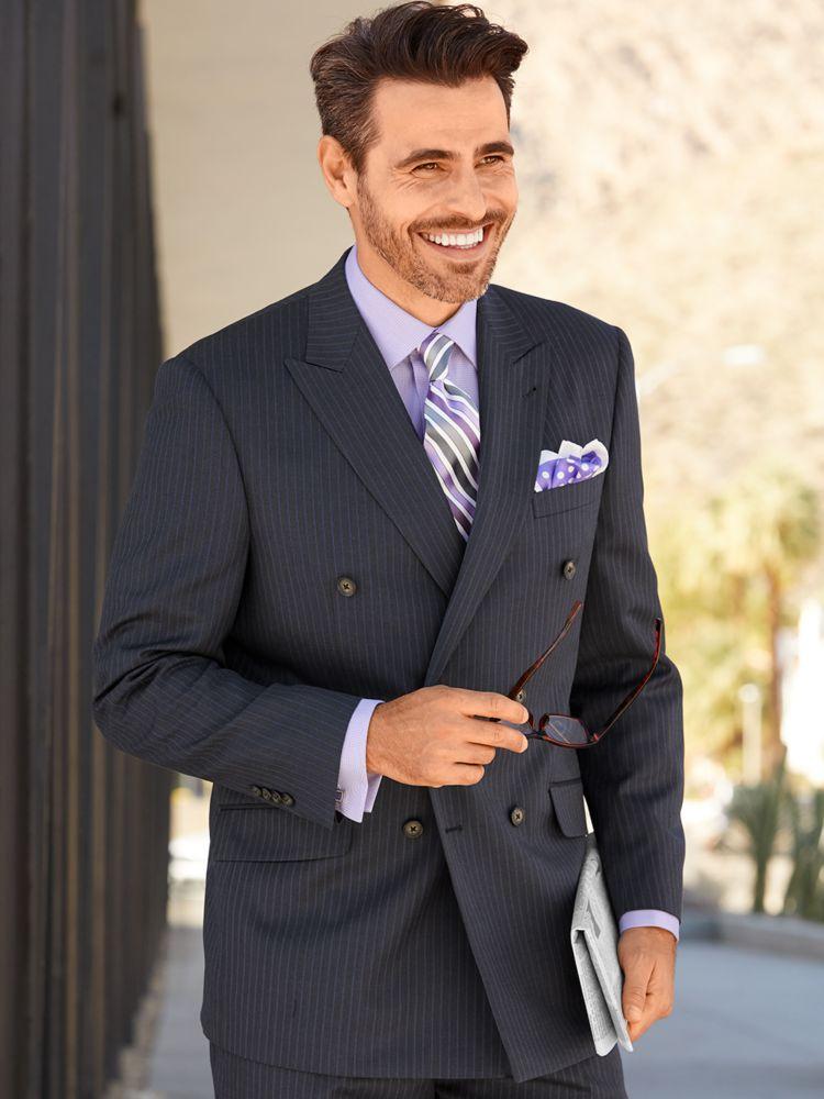 1930s Style Mens Suits Wool & Silk Stripe Double Breasted Peak Lapel Suit $259.50 AT vintagedancer.com