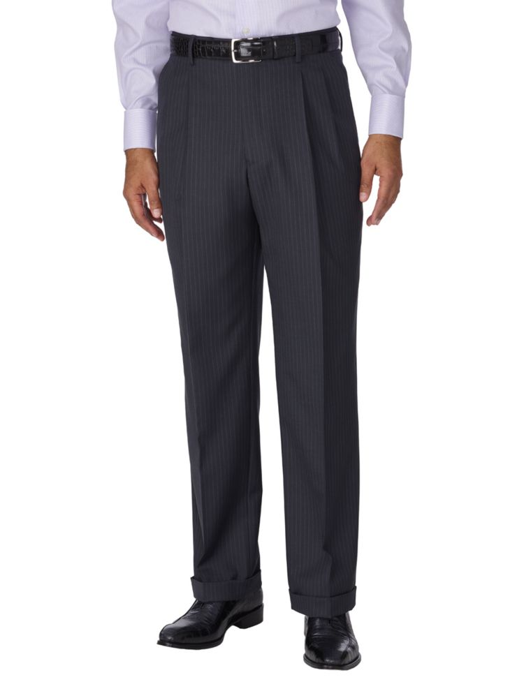 1930s Mens High Waisted Pants, Wide Leg Trousers Wool & Silk Stripe Suit Separate Pant $139.50 AT vintagedancer.com