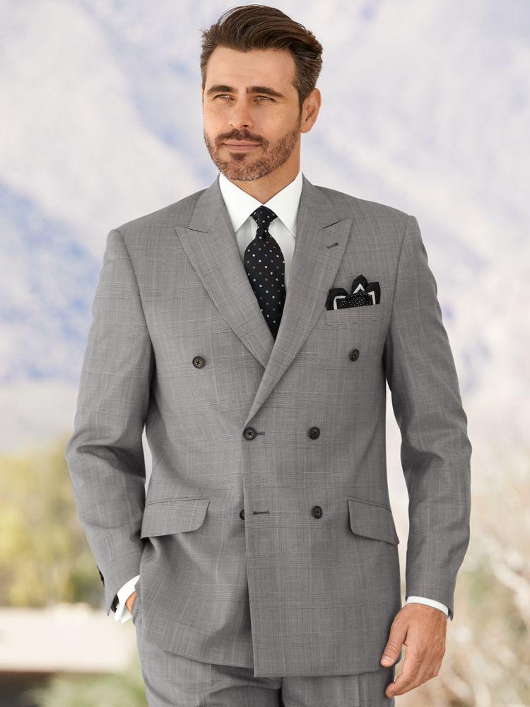1930s Style Mens Suits Wool & Silk Black & White Glen Plaid Double Breasted Peak Lapel Suit $259.50 AT vintagedancer.com