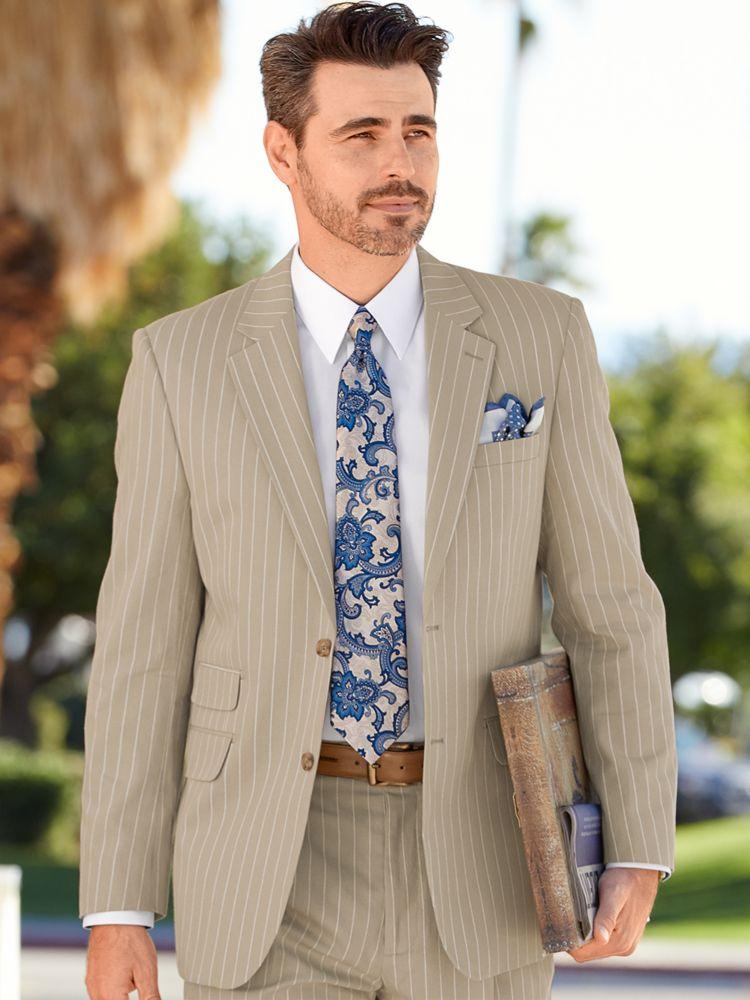 1930s Style Mens Suits Cotton Stripe Notch Lapel Suit $209.50 AT vintagedancer.com