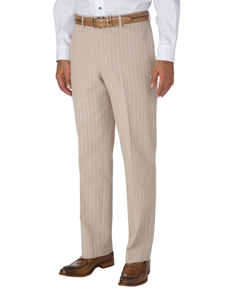 1930s Mens High Waisted Pants, Wide Leg Trousers Cotton Stripe Flat Front Suit Separate Pant $89.50 AT vintagedancer.com