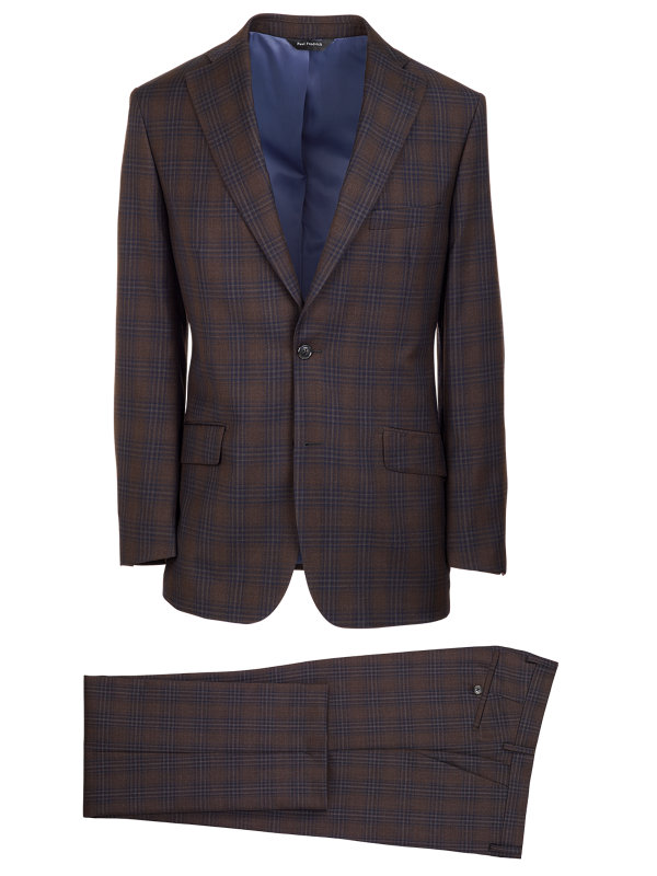 Tailored Fit Wool Plaid Notch Lapel Suit