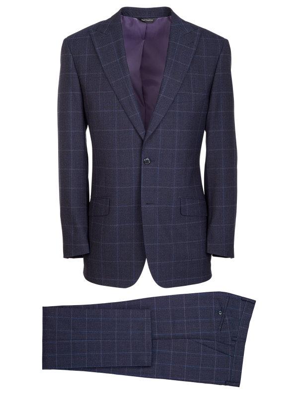 Classic Fit Wool Plaid Peak Lapel Suit