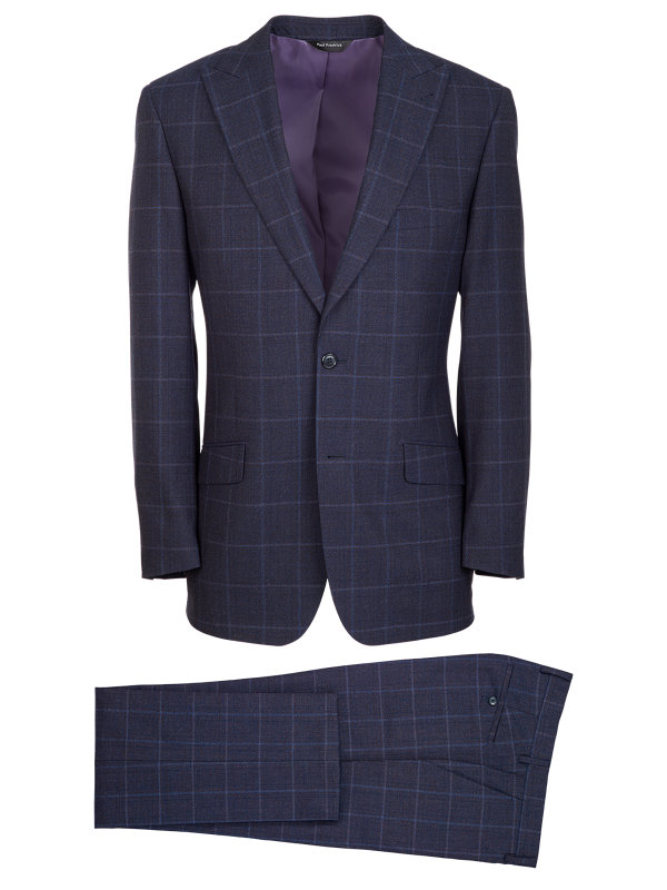 Tailored Fit Wool Plaid Peak Lapel Suit