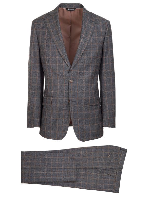 Classic Fit Wool Windowpane Notch Lapel Suit