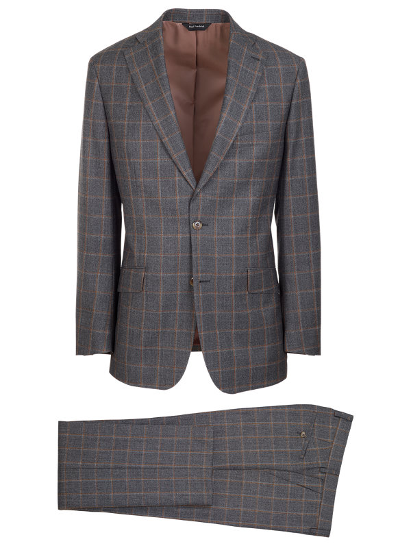 Tailored Fit Wool Windowpane Notch Lapel Suit