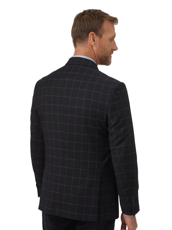 Tailored Fit Italian Wool Windowpane Double Breasted Suit