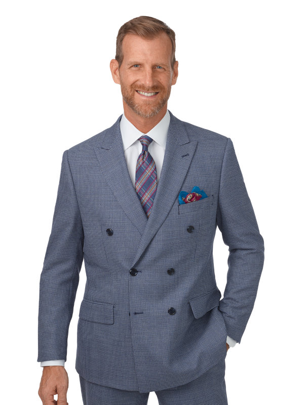 Classic Fit Wool Houndstooth Double Breasted Suit
