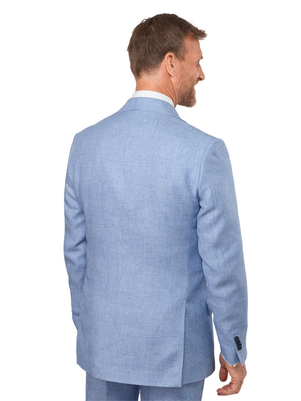 Classic Fit Linen Glen Plaid Notch Lapel Suit