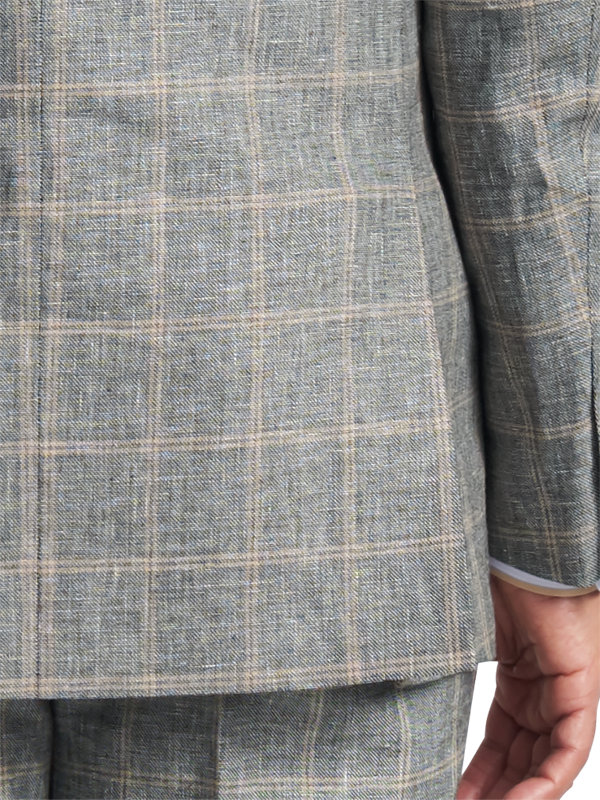 Classic Fit Linen & Cotton Plaid Peak Lapel Suit