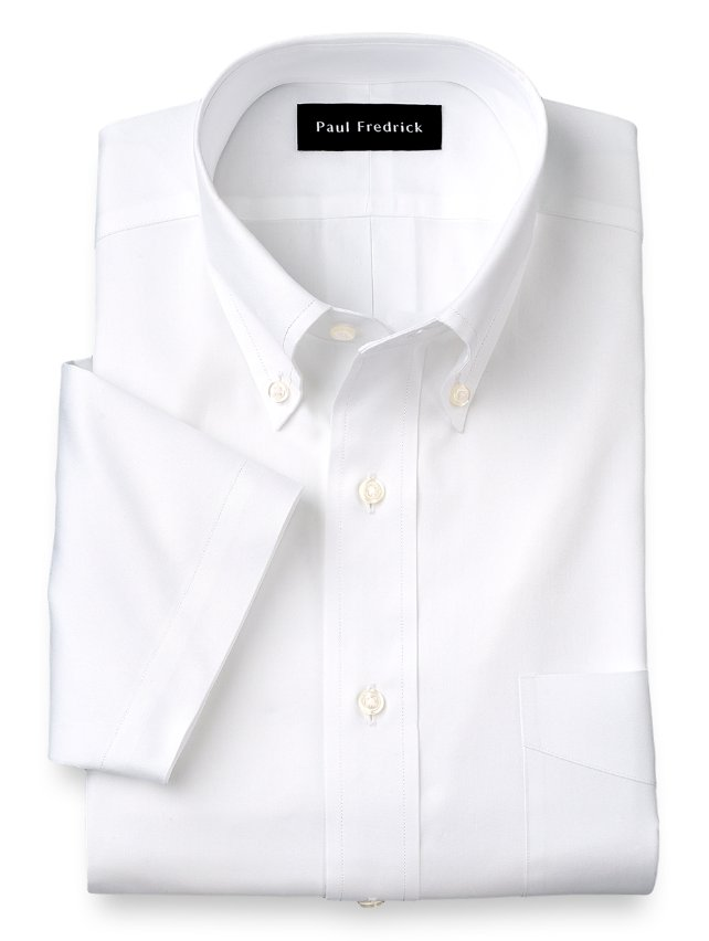 Cotton pinpoint oxford button down collar short sleeve for Pinpoint button down dress shirt