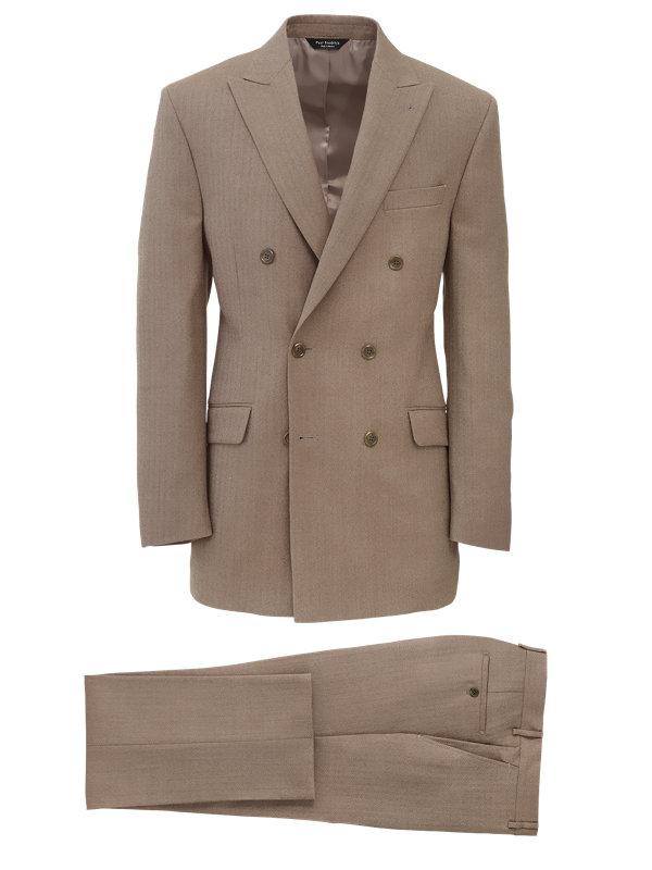 Herringbone Wool Double Breasted Suit