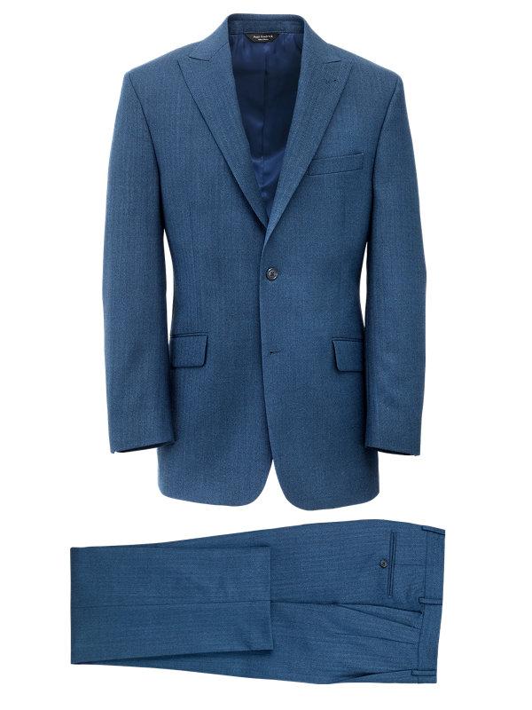 Herringbone Wool Peak Lapel Suit