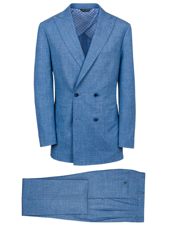 Wool Silk And Linen Solid Double Breasted Suit