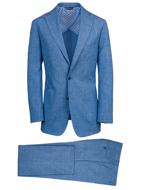 Wool Silk And Linen Solid Notch Lapel Suit
