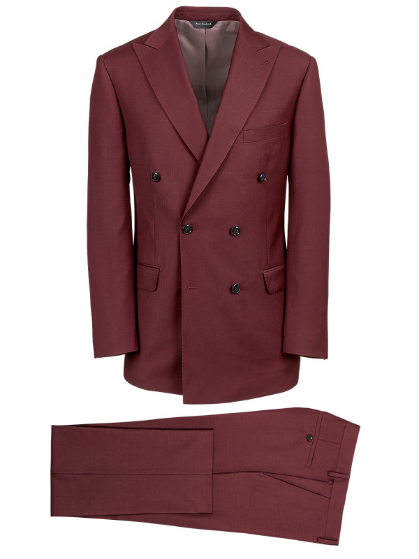 Wool Sharkskin Double Breasted Suit