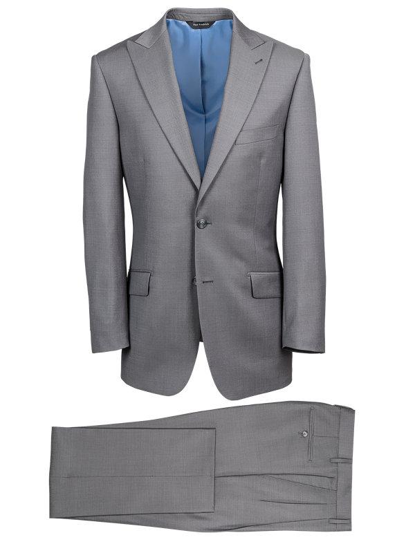 Solid Wool Peak Lapel Suit