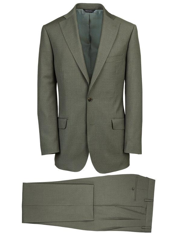 Solid Wool Notch Lapel Suit