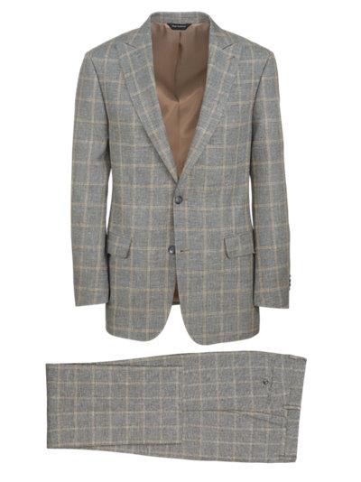 Paul Fredrick Mens Classic Fit Linen Cotton Plaid Peak Lapel Suit Jacket