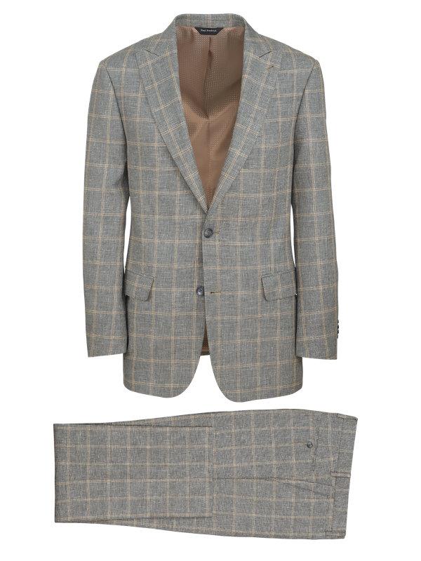 Linen And Cotton Plaid Peak Lapel Suit