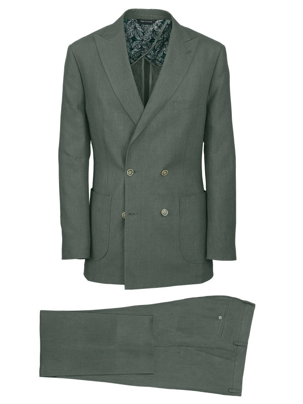 Linen Solid Double Breasted Suit