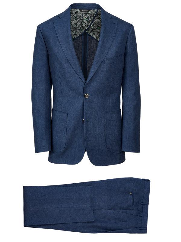Linen Solid Notch Lapel Suit