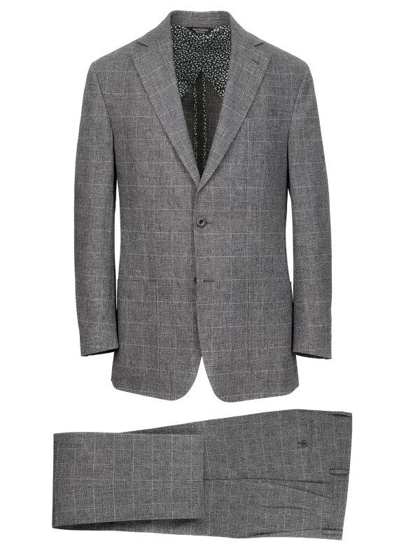 Linen Glen Plaid Notch Lapel Suit