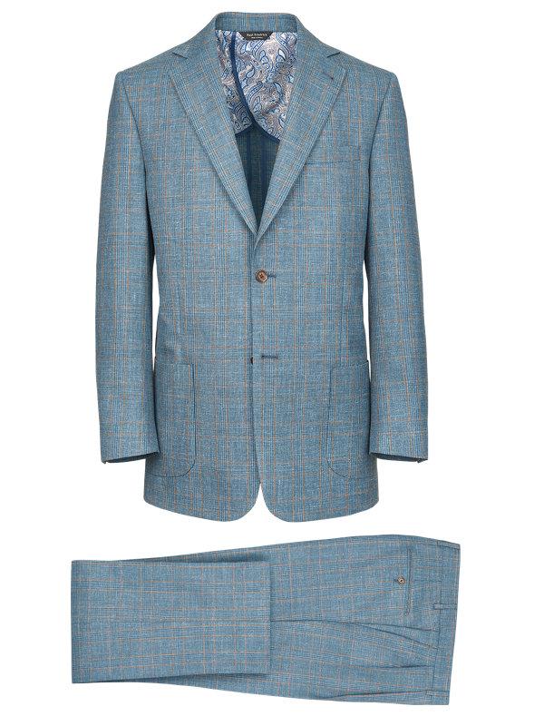 Wool Silk And Linen Plaid Notch Lapel Suit