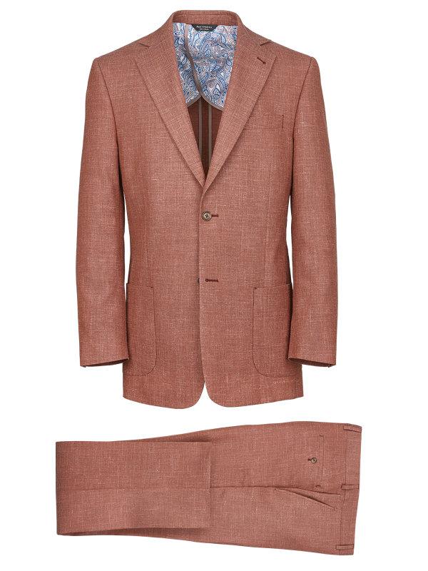 Wool Silk And Linen Notch Lapel Suit