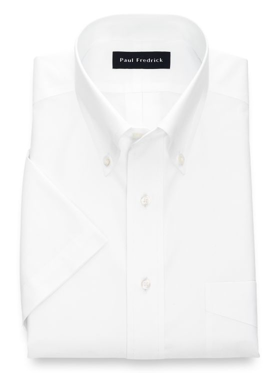 Slim Fit Non Iron Cotton Pinpoint Button Down Collar Short Sleeve
