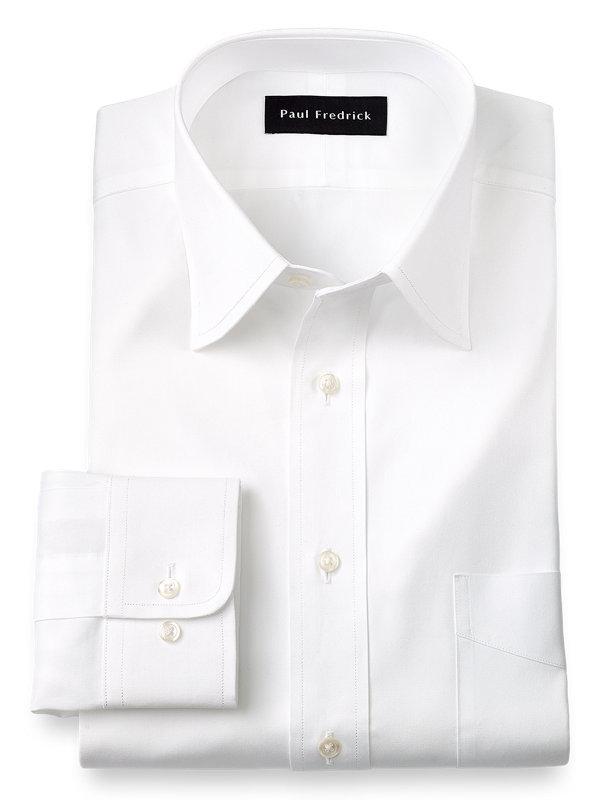 Paul Fredrick Mens Pinpoint Varsity Spread French Cuff Dress Shirt