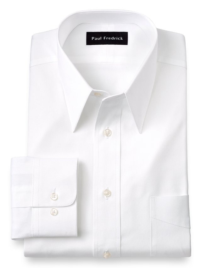 Slim fit cotton pinpoint oxford edge stitched straight Straight collar dress shirt