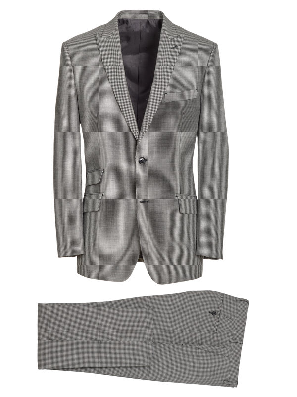 Classic Fit Wool Houndstooth Peak Lapel Suit