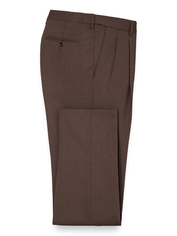 Tailored Fit Brown Essential Wool Notch Lapel Suit