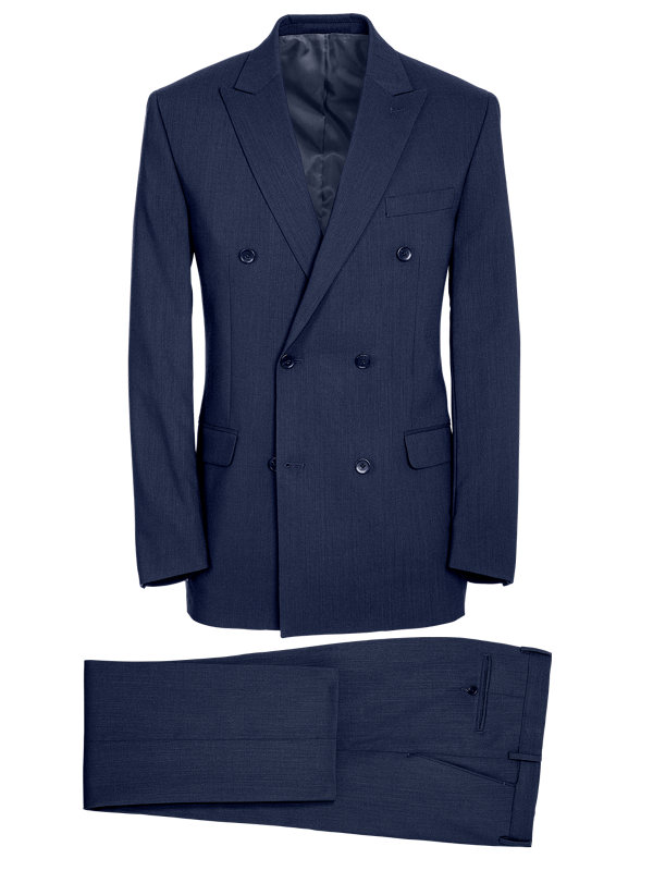 Tailored Fit Double Breasted Essential Wool Suit