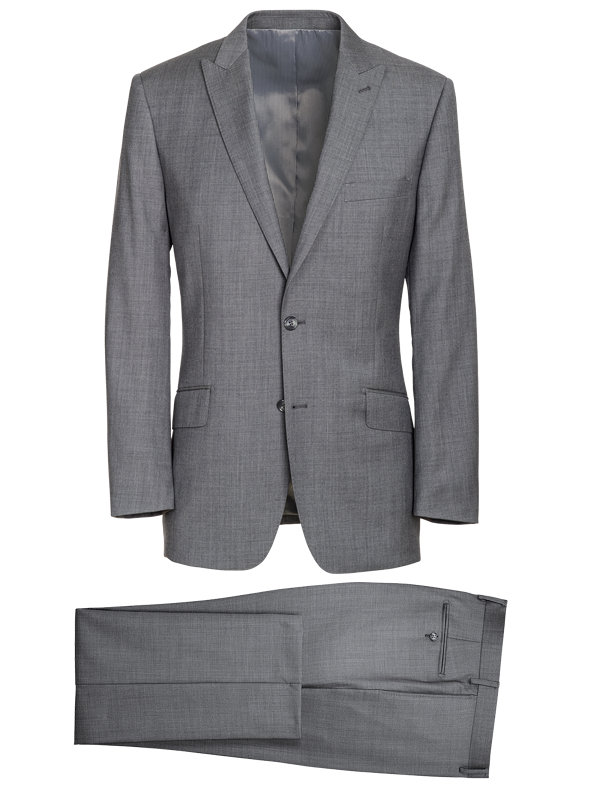 Tailored Fit Sharkskin Peak Lapel Suit