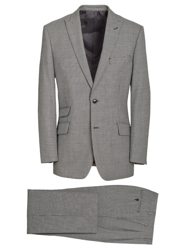 Tailored Fit Wool Houndstooth Notch Lapel Suit
