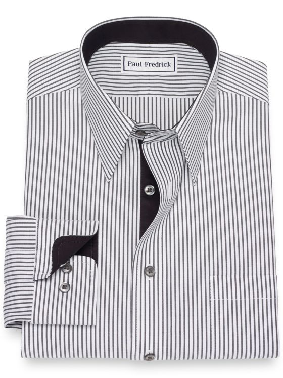 36553c82ec6a Slim Fit Non-Iron Cotton Pinpoint Stripe Dress Shirt with Contrast ...